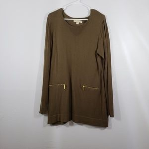 Michael Kors Crew Neck Long Sleeve Tunic Top